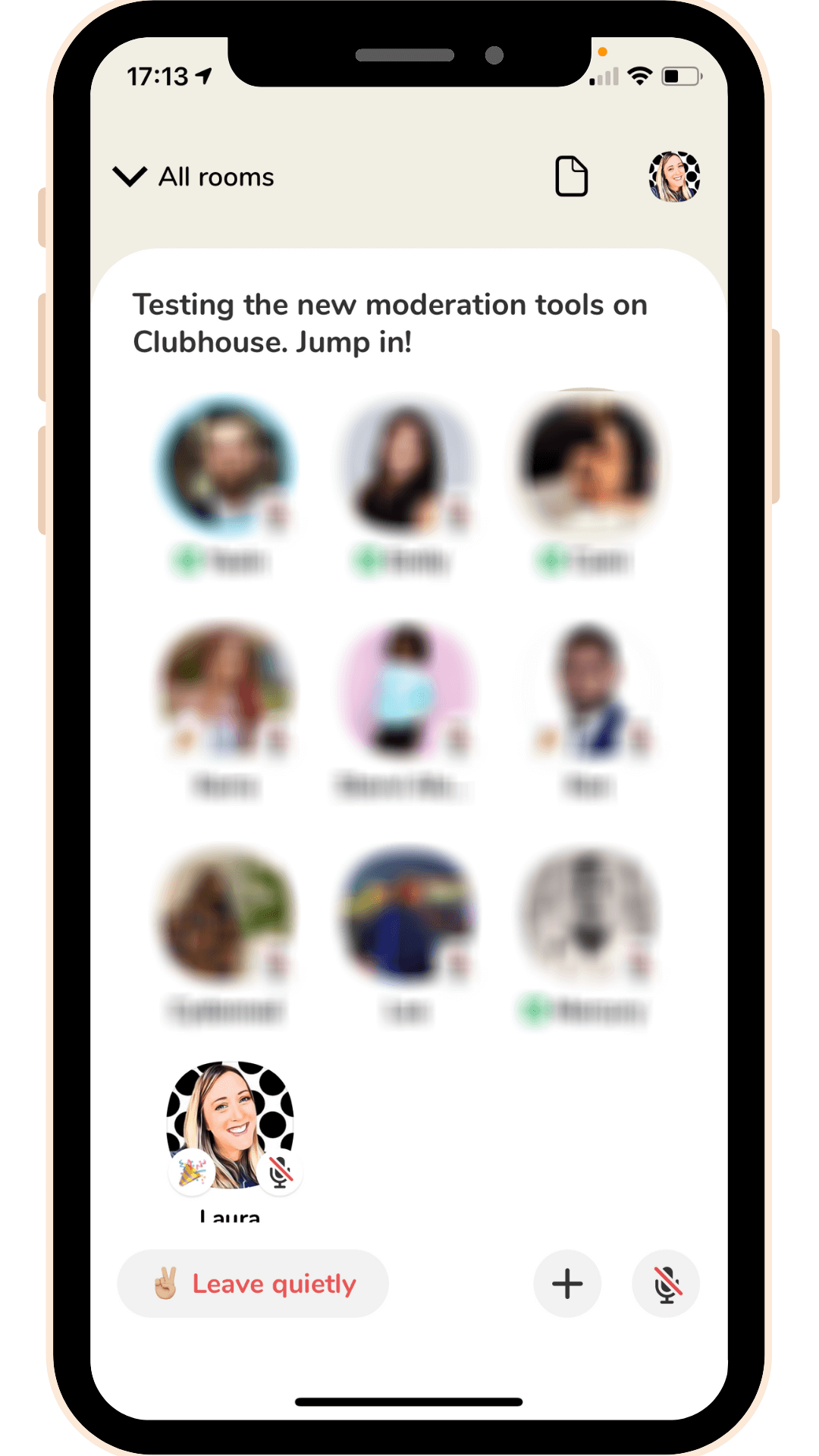 Clubhouse app stage area